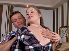 Alessandra Jane blows and gets her..