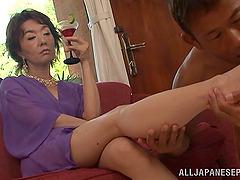 Mature Japanese Chick Rides An Asian..