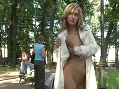 Blonde teen in public nudity video