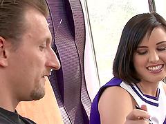Brunette cheerleader Brooke Adams gets..
