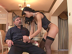 Suzie Diamond rides two monster cocks..