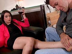 Akasha Cullen enjoys foot massage and..