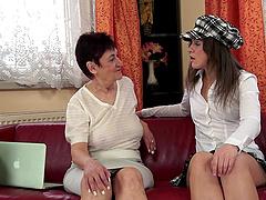 Mature lesbian hottie treats a young..
