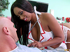 Curvy ebony babe titfucks a shaft and..