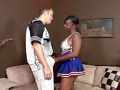 Alluring Ebony Cheerleader With..
