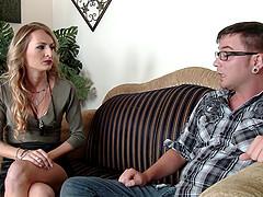 Hot stud fucks his dad's girlfriend..