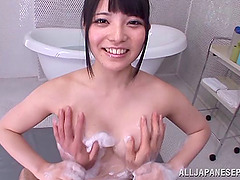 Asian sweetheart Ai Uehara gets soaped..