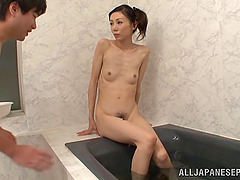 Skinny Japanese babe with a hairy..