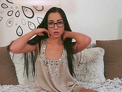 Horny brunette Denisa Deen wearing..