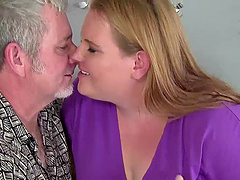 Obese blonde Scarlet makes out with an..