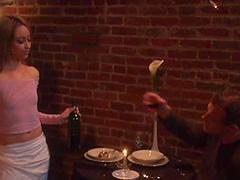 Pretty waiter Corina Taylor gets her..
