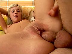 Pretty blonde Scarlet sucks a cock..