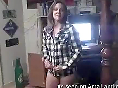 Slutty girlfriend strips for her man..