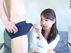 Cute asian milf gets naughty and plays..