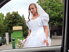 teen bride with long hair pounded in..