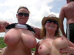Nasty chicks show their big natural..