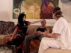 Rebeca Linares gets a mouthful of cum..