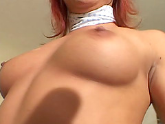 She slams her ass down on his cock..