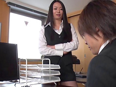 Chubby Asian MILF with big tits giving..