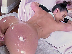 Oiled up MILF with a nice, big ass..