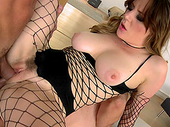 Cute pornstar in fishnet gives double..
