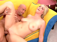 Charming blonde with natural tits in..