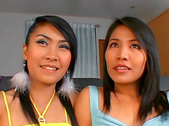 Slim Asian lesbians Pun and Nicky lick..