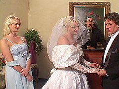 Depraved bride Missy Monroe sucks two..