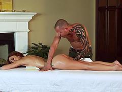 Tattooed MILF is massaged,oiled then..