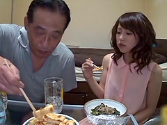 Asian babe have meal before nailed..