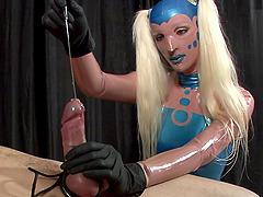 Dynamic blonde busting massive balls..