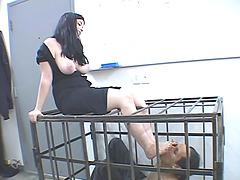 Flirtatious brunette babe with a foot..