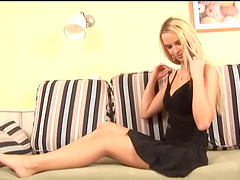 Solo blonde uses toys to please her..