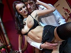 Sexy brunette Claudia Adams sucks two..