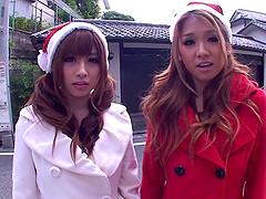 Two depraved Japanese Santa girls ride..