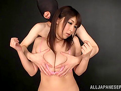 Zestful Japanese babe with big tits..