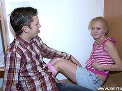 Affectionate Russian dame in miniskirt..