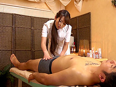 Yui Hatano massages a guy's boner and..