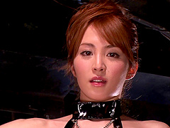 Miku Ohashi, wearing leather outfit,..