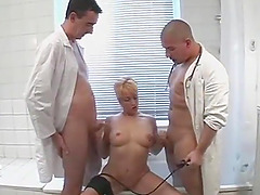 Tattooed blonde mom has sex with two..