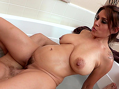 Tattooed Wife gets hairy pussy feasted..