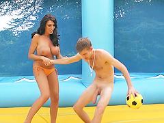 Ava Koxxx enjoys rear banging after sucking and titfucking a cock