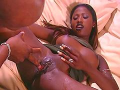 Black slut gets cum on her sexy ass..