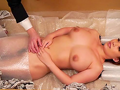 Charming Japanese cowgirl with big..