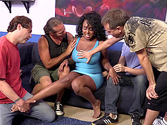 Chubby pornstar in group sex giving a..