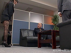 Arisa Misato, wearing pantyhose, gets..