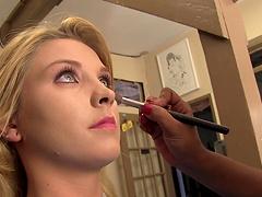 Sexy blonde slut backstage getting her..