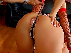 Exotic babe in a thong swallowing cum..
