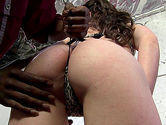 Randy cock sucking brunette fucked by..