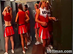 Sexy cheerleaders go lesbian in the..